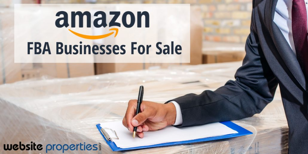 """Man in a suit taking notes. Overlay of text mentions, """"Amazon FBA Businesses For Sale."""""""